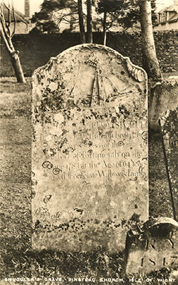 Gravestone of smuggler in Binstead churchyard